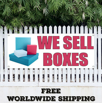 Banner Vinyl WE SELL BOXES Advertising Sign Flag Price Free Ship Many Sizes Shop