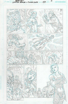 JUSTICE LEAGUE vs SUICIDE SQUAD 3 pg 11 original art with FLASH and HARLEY QUEEN
