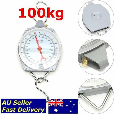 100KG Hanging Weighing Scales Mechanical Fishing Heavy Duty With Hook Butchering