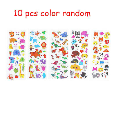 10pcs Cute Animal DIY Stickers Cartoon Children Stickers Toys PVC Gifts For Kids