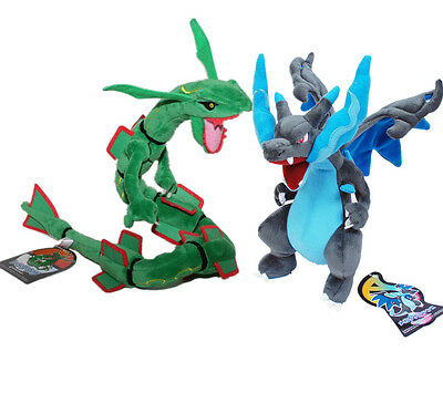 Pokemon Center Rayquaza Mega Charizard XY Plush Doll Stuffed Toy Gift Set 2pcs