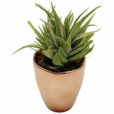Faux Succulent Aloe Plant In Copper Rose Gold Metallic Vase Potted Decor GIFT