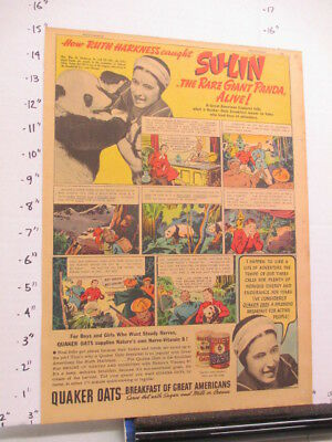 newspaper ad 1937 Ruth Harkness Quaker oats cereal box giant panda bear comic