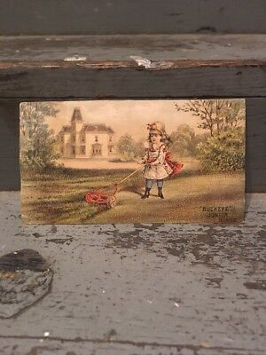 Vintage 1880s Blotter / Trade Card  Buckeye Junior Lawn Mowers Springfield Ohio