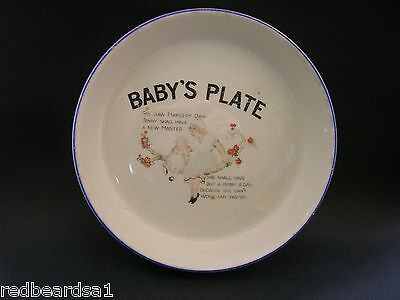 C & E Vintage Nursery Rhyme Margery Daw Childrens Baby China Plate Bowl c1920s