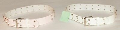 Girls White Pink RECO LEATHER Star Studded Stud Goth Punk Rock Belt One Size -B1