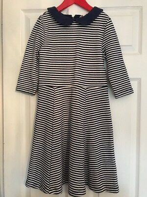 Stunning Girls Mini Boden Navy And Off White Striped Dress Age 11-12 Years