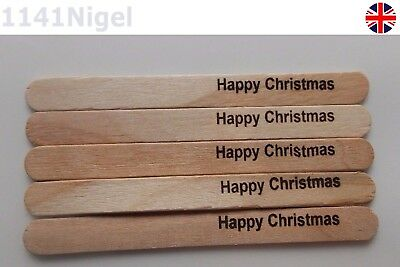 """""""Happy Christmas"""" lolly pop sticks laser printed personalized messages available"""