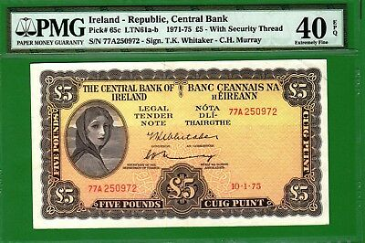 """Ireland/1971-75 Issue Central Bank 5 Pounds P65c """"LADY LAVERY"""" PMG40 Extremely F"""