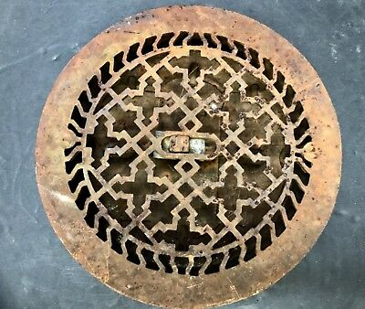 Cast Iron Antique Round Ornate Vent Grate Cover W/ Back OPENS/CLOSES 9 1/2 Inch