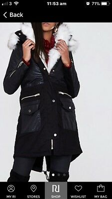 River Island fish tale, white fur Parka Coat, Black, leather look arms. BNWT 10