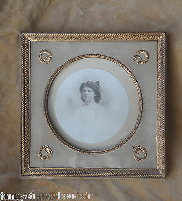 Antique French Empire style bronze photograph frame