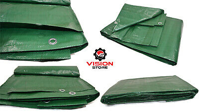 GREEN TARPAULIN WATERPROOF CAMPING GROUND SHEET COVER 90g TARP CAR BOAT COVER
