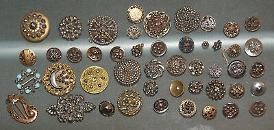 Antique Lot of Buttons with Cut Steals Large Lot