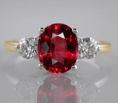 2.55ct Oval Ruby and F VS Diamond Ring in 18ct Yellow Gold Engagement 3-Stone