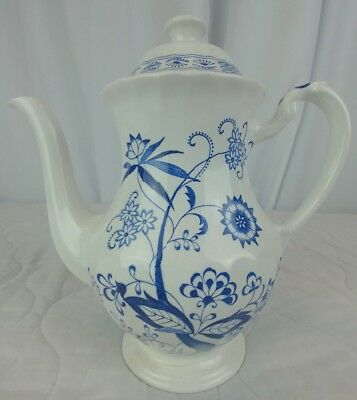 """J & G MEAKIN 7"""" Coffee Pot (4 cups) """"Blue Nordic"""" Classic White England"""