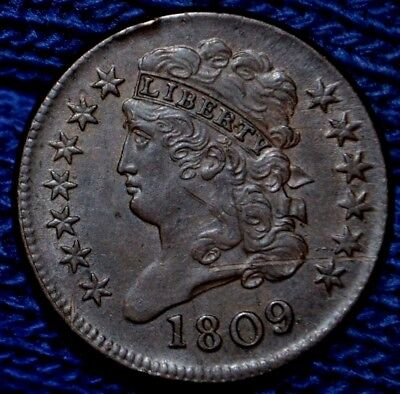 1809 HALF CENT**UNC details**150 Degree Rotated Die !! **Obv scr**rim hits