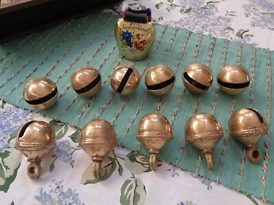 11 Large Antique Heavy Cast Brass Sleigh Bells $7.50 Each  FREE QUICK SHIP NOW