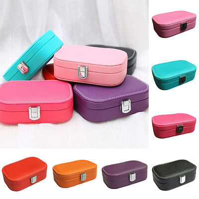 FX- Jewelry Display Ring Earring Storage Organizer Travel Case with Mirror Salab