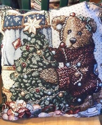 BOYDS BEARS & Friends Tapestry Christmas Holiday Season Snow Pillow 15 x 15