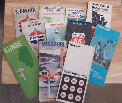 Lot of Vintage Maps Standard Oil Gulf Phillips 66 Skelly Mobil