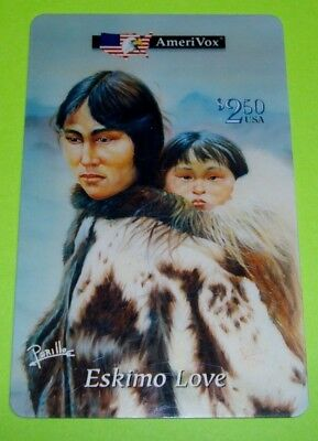 1994 Perillo ESKIMO LOVE Native American Indians AmeriVox 2.50 Phone Card