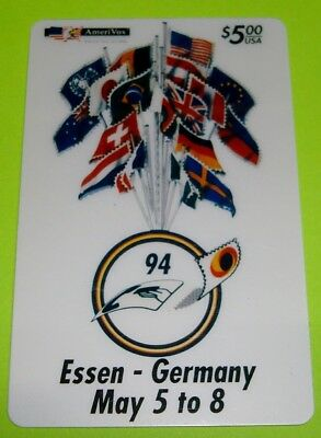 Essen, Germany: 1st International Phonecard Fair Flags  AmeriVox $5 Phone Card