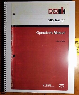Case IH 585 Tractor Owner's Operator's Manual Don 9-11263 8/87