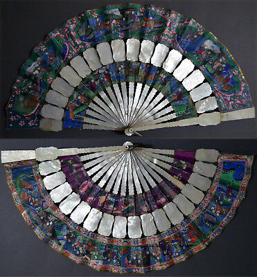 Splendid Chinese Export Hand Carved Mother Of Pearl Cabriolet Fan 1000 Faces