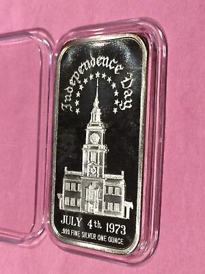 1973 Independence Day Collectible Bar 1 Troy Oz .999 Fine Silver Ingot Medal 999