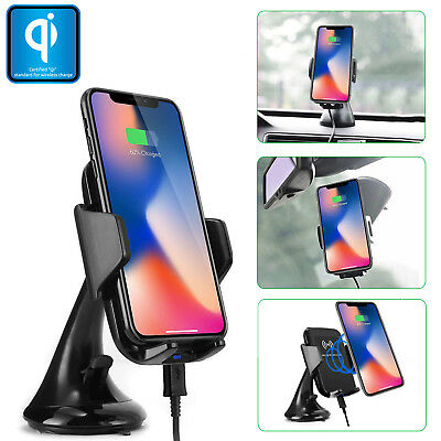 Qi Wireless Car Mount Windshield Holder + Dual USB Port Charger for Cell Phones