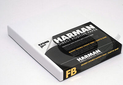 Ilford Harman Direct Positive Darkroom B&W Paper 4x5 Pack of 25 Glossy Fibre FB