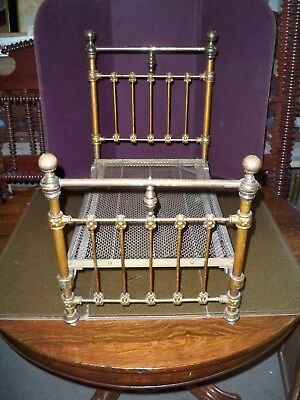 "Antique Brass & Iron Salesman Sample Bed ""art Bedstead Co. Chicago"""