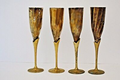 Set of 4 Vintage Silver Plate & Brass Wine Flutes/Goblets Made in India 9.25""