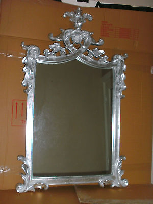 Large Silver French Roccoco Style  Wall Mirror/with Open Ornate Fretwork Border