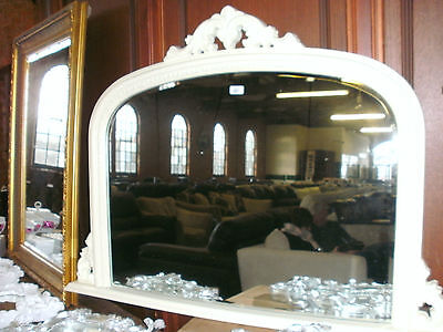 Large Cream French Style Ornate Arched Overmantle Mirror