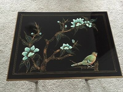 Vintage Oriental Style Side/Lamp/ Table Decorated with Folliage and Birds.