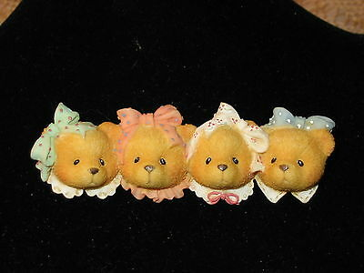 1996 Priscilla Hillman Enesco Cherished Teddies 4 Bear Faces Pin Brooch 4 heads