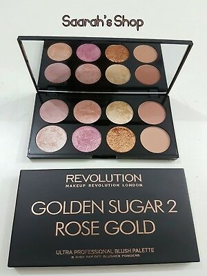 Makeup Revolution Blushes Highlighter Palette GOLDEN SUGAR 2 Rose Gold Mirror