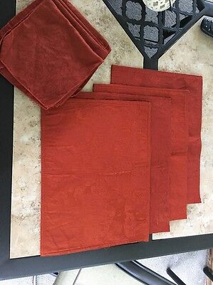 Set of Four Cloth Placemats With Four Matching Cloth Napkins Burnt Orange Leaf