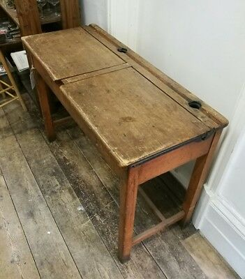 Vintage retro double school desk wooden  ideal for kids play room lift up top