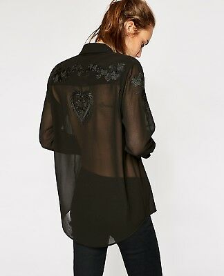 cead93dab NWT The Kooples Floral Embroidered Crepe Button Up Shear Black Shirt Blouse  Top