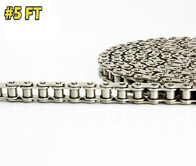 #40NP Nickel Plated Roller Chain 5 Feet with 1 Connecting Links Anti-Corrosion