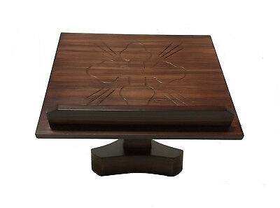 new 14x12 laurel wood missal bible book stand with carved cross ornament church