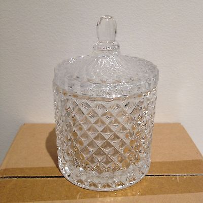 4x Glass Candle Jars With Lids / Empty - Diamond Cut