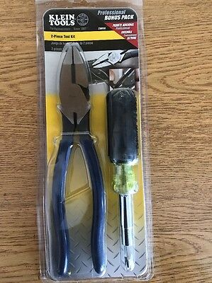 New Klein Tools Electrician's Tool Set Lineman Pliers & 11-1 Screwdriver Kit