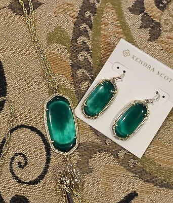 Kendra Scott Rayne Necklace & Elle Earrings! Matching in CAT'S EYE EMERALD. NWT!