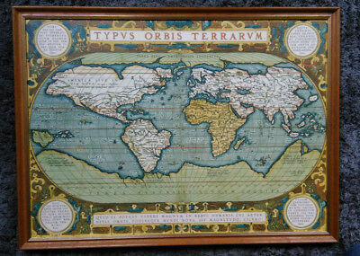 Print of Ortelius's map, Typus Orbis Terrarum (View of the World), with frame