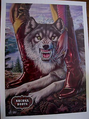 "1981 Nocona cowboy boots snarling wolf art vintage - Full Size Poster: 28"" x 20"""