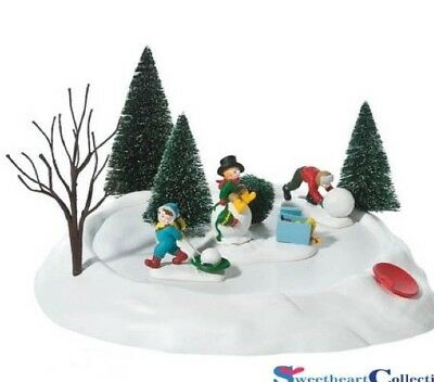 Dept 56 Dickens Village Building a Snowman RETIRED Animated Accessory Christmas